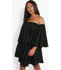 plus peplum jurk met open schouders en ruches, black