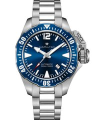 hamilton khaki navy frogman automatic bracelet watch, 42mm in silver/blue/silver at nordstrom