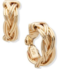 """anne klein gold-tone small braided clip-on hoop earrings, 0.75"""""""