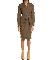women's max mara voto belted long sleeve wrap dress, size 6 - green