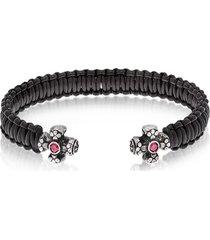 be unique designer men's bracelets, leather black bracelet w/crystals