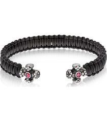 be unique designer men's bracelets, leather black bracelet w/crystals
