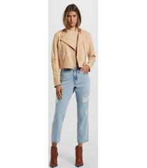jaqueta de couro basic color nude lace - 36