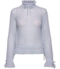 peace, 724 ruffled knitwear turtleneck coltrui blauw stine goya