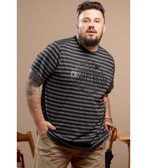 camiseta svk plus size moulinê - listrada preto e cinza - kanui