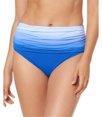 bleu by rod beattie ombre ruched high-waist tummy control bikini bottoms women's swimsuit