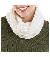 natural 100% alpaca neck warmer, 'natural field' (peru)