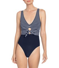 women's robin piccone sailor tie front one-piece swimsuit, size 8 - blue