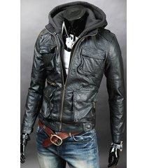 men detachable fabric hooded leather jacket, biker leather jacket mens