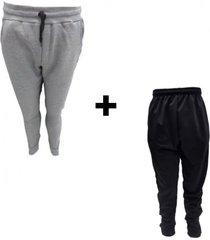 conjunto mezgo pantalón gris + chupín negro frizado