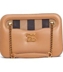 fendi karligraphy king leather shoulder bag - beige