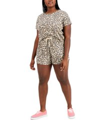 full circle trends trendy plus size printed t-shirt & shorts set
