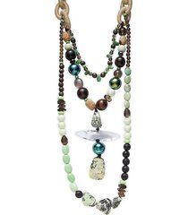 10k goldplated & multi-stone beaded necklace