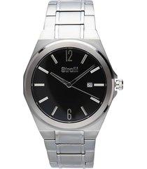 orologio solo tempo con cinturino e cassa in acciaio silver, quadrante nero per uomo