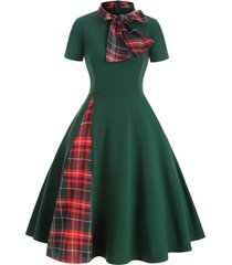 plaid panel bow tie vintage rockabilly style a line dress