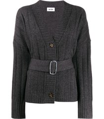 each x other belted oversized cardigan - grey