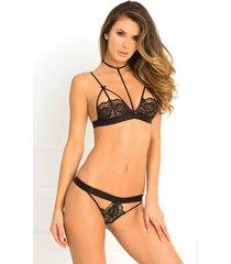 rene rofe hot harness bra & thong panty lingerie set size s/m-m/l
