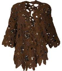 brunello cucinelli crochet open knit cardigan - brown