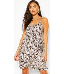 animal spot print strappy wrap mini dress, white