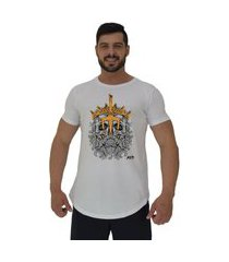 camiseta longline alto conceito king skull branco