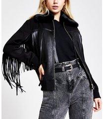 river island womens black fringe tassel bomber jacket