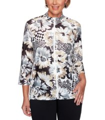 alfred dunner classics floral geometric printed jacket