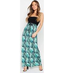 petite strapless palm print maxi jurk, zwart