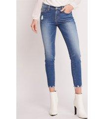 flying monkey mid rise hem detail crop skinny jeans