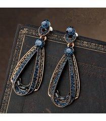 vintage orecchini a goccia traforata di zaffiro di lusso con strass ed oro