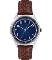 ted baker london daquir leather strap watch, 40mm in blue at nordstrom