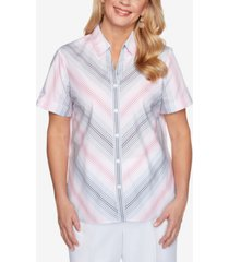alfred dunner mitered ombre stripe shirt