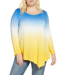 plus size women's single thread asymmetrical hem top