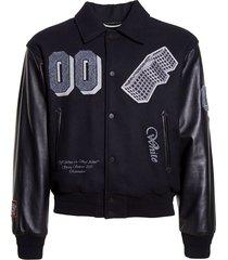 golden ratio leather varsity jacket black