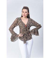 blusa dama animal print di bello jeans  concept blouse ref b220