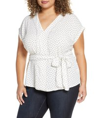 plus size women's 1.state scatter dot belted top, size 2x - white