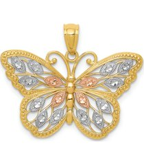 butterfly diamond-cut charm in 14k yellow gold with white and rose rhodium