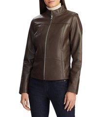 women's lauren ralph lauren band collar leather jacket, size large - brown