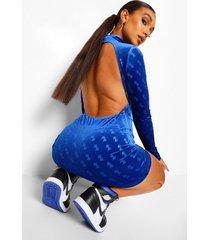 velours bodycon jurk met b reliëf en open rug, blue