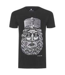camiseta masculina estampada manual - preto