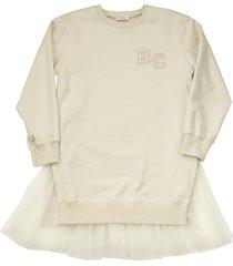 brunello cucinelli cotton fleece dress with tulle flounce