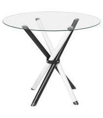 mesa de jantar redonda com tampo de vidro lorena branca e preta 90 cm