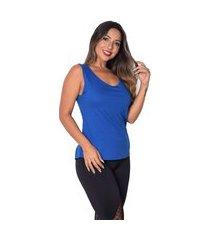 regata vip lingerie fitness corte a laser duplo e silk azul