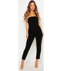 petite bandeau straight leg jumpsuit, black