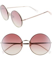 women's rebecca minkoff gloria1 56mm round sunglasses - rose gold