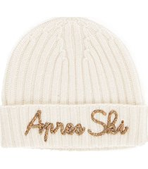 cashmere blended white hat with gold embroidery