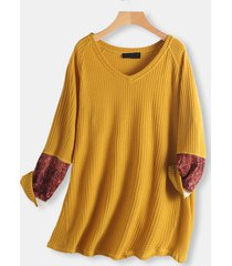 blusa taglie plus manica lunga stampa patchwork vintage