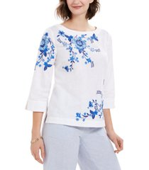 charter club embroidered split-sleeve top, created for macy's