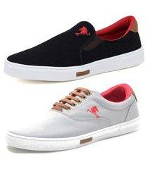 tenis sapatenis sapato conforto polo joy e iate sem cadarço kit 2 pares cinza/preto