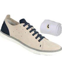 kit sapatênis couro bmbrasil + meia lupo masculino