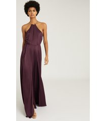 reiss anne - chain detail maxi dress in berry, womens, size 14
